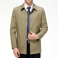 中年男士夹克衫春秋外套薄款宽松爸爸装中老年男秋季翻领休闲茄克