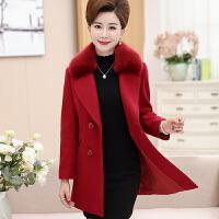 妈妈秋冬装毛呢外套加厚中老年女装40-50岁中年大衣冬季新款 XL 85-100斤