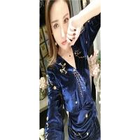 性感复古天鹅金丝绒连衣裙V领重工镶钻系带秋季开叉露腿包臀裙子 宝蓝色