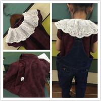 夏季女童韩版蕾丝翻领棉麻暗花上衣 女童荷叶边甜美短袖衫