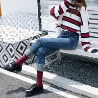 Freefeel 2018秋冬新款牛仔裤女装裤子时尚弹力直筒九分裤WD8095