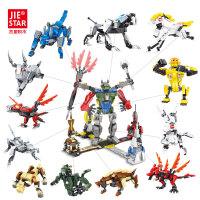 铠甲十二生肖拼装玩具儿童组装积木玩具男孩小颗粒积木