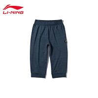 李宁七分卫裤男士新款篮球系列吸湿纯棉休闲男装夏季运动裤AKQN003