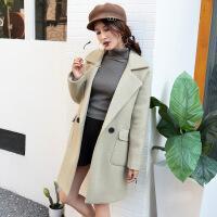 冬季新款时尚纯色韩版羊毛呢大衣 修身潮流中长款毛呢外套