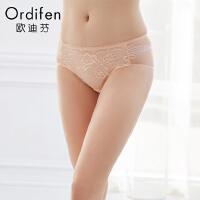 【2件3折到手价:38】欧迪芬女式内裤性感蕾丝中腰提臀三角裤XP8207