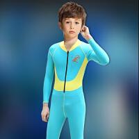 女大儿童游泳衣少女中大童连体长袖泳衣全身防晒潜水母衣宝宝泳衣 天蓝色 男童