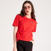 红袖熊猫印花系带圆领套头T恤