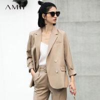 Amii极简chic通勤ins套装2018春新双排扣西装外套