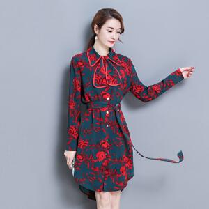 2018春装新款潮流花色连衣裙优雅POLO领系带印花不规则裙