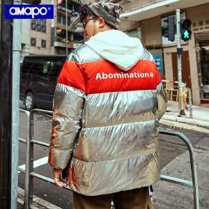 【限时抢购到手价:295元】AMAPO潮牌大码男装冬季新款保暖外套男士胖子加肥加大宽松羽绒服