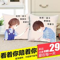新款印花十字绣抱枕简约现代客厅卧室情侣一对汽车抱枕简单绣靠垫