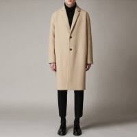 2017冬季新款男装羊绒外套韩版毛呢大衣 男中长款双面呢羊绒大衣