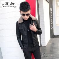 夏妆皮衣男式冬装羊羔毛领加绒修身韩版潮流夹克帅气机车青年外套短款
