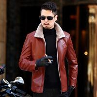 皮毛一体男外套冬季中年爸爸翻领皮衣加绒皮夹克厚加肥加大码皮袄 桔红色 M
