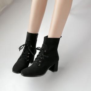 O'SHELL欧希尔新品135-Y1002欧美磨砂绒面粗跟女士短靴