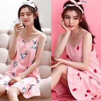 韩版吊带睡裙女夏纯棉草莓学生中裙子可爱甜美短袖居家服少女睡衣 红色 草莓+粉兔吊带