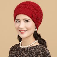 中老年帽子女秋冬帽保暖兔毛加厚妈妈帽老年毛线帽老人帽子女冬天