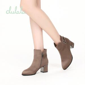 【达芙妮集团】鞋柜 杜拉拉冬款加绒棉靴粗跟短靴无鞋带中跟女靴子马丁靴