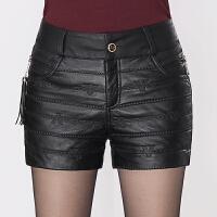 皮裤女秋冬新款加厚加绒显瘦西装皮短裤黑色打底裤外穿加大码棉裤 黑色