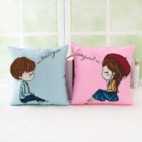绣印花5D十字绣抱枕情侣卡通动漫个性靠枕头一对沙发汽车靠垫 想你+爱你 一对枕套一对枕芯