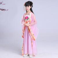 古装女孩民族古筝演出服装童装 女童汉服中国风 儿童大童公主仙女