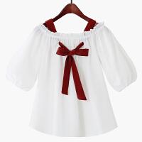 2018夏季新款甜美小清新系带蝴蝶结白色吊带木耳花边一字肩雪纺衫