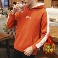 男士加绒卫衣秋季新款圆领韩版保暖套头上衣服长袖t恤男装