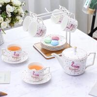 ins网红火烈鸟咖啡6杯碟套装欧式创意白瓷下午茶具套杯配杯架托盘