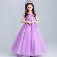 花童礼服裙长款婚纱裙 夏季儿童礼服女童公主裙演出表演裙舞蹈裙 紫色
