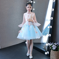 儿童礼服女童走秀公主裙长袖 花童礼服生日主持人晚礼服钢琴演出服