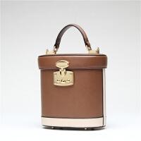 时尚新款真皮水桶包复古定型药箱包女士手提单肩斜挎包真皮女包包