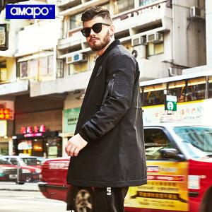 【限时抢购到手价:180元】AMAPO潮牌大码男装冬季加肥加大码宽松潮胖子中长款棉衣肥佬外套