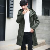 韩版风衣男士外套中长款连帽修身春秋款潮流日系原宿防风大衣