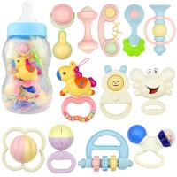 婴儿摇铃新生儿幼儿手摇铃牙咬奶瓶套装 宝宝玩具0-1岁3-6-12个月