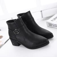 姿色路正品秋冬新款粗跟女靴 尖头短靴 搭扣加绒广州靴子