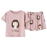 休闲睡衣女短袖短裤套装全棉大码学生韩版女士家居服夏季