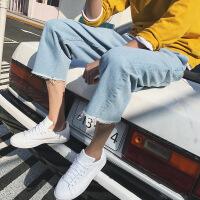 九分牛仔裤男薄款日系宽松直筒毛边阔腿裤韩版潮流9分哈伦裤 浅蓝色