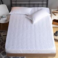 订做床单床笠单件加厚夹棉1.51.8m床罩席梦思床垫保护套防滑床套 白色 水波纹白 +夹棉枕套一对