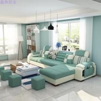 布艺沙发组合小户型 可拆洗布沙发现代简约经济型沙发客厅整装 深灰 浅灰 四位 脚踏[乳胶版]茶几电视柜