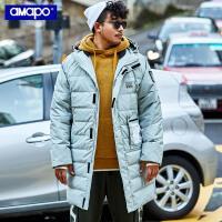 【限时秒杀价:303元】AMAPO潮牌大码男装冬季长款连帽羽绒服男加肥加大码宽松保暖外套