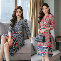 连衣裙年春季个性优雅时尚百搭气质流行格子民族风