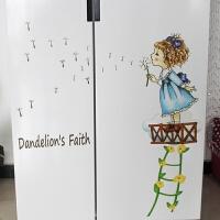 冰箱贴蒲公英小女孩墙贴冰箱贴纸卡通冰箱装饰贴画卧室床头客厅沙发背景 7196 大