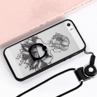 iPhone5手机壳 苹果se保护套 iPhone5s手机壳套 保护壳 自带指环支架壳 外壳 卡通黑胶一体指环浮雕彩绘