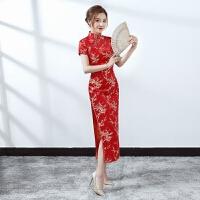 新款红色新娘敬酒长旗礼仪服装迎宾短袖修身旗袍锦缎剪彩年会
