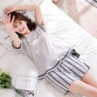 睡衣女夏短袖纯棉两件套装家居服韩版清新学生夏季薄款女士睡衣夏 冷灰色 J6893