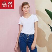 【每满200减100】高梵2018新款夏季女装简约白色纯棉舒适短袖V领T恤女上衣打底衫女
