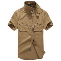 森林吉普 senlin Jeep短袖衬衫纯棉水洗户外休闲上衣 夏季宽松大码男式衬衣 男