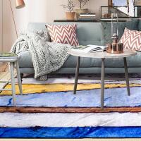 现代抽象艺术水彩客厅地毯门厅沙发茶几地垫卧室床边长方形小地毯 花色 河畔的微风