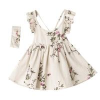 欧美夏季女童亚麻面料小桃花吊带裙配发带荷叶边背心裙中小童宝宝