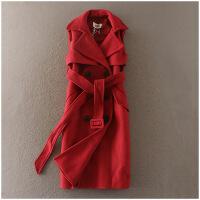 特价 冬季无袖韩版双排扣中长款毛呢外套女8161
